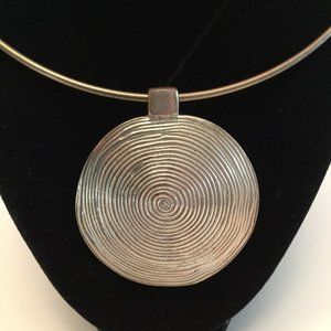 Large Swirl Disk Pendant Silver Tone Necklace